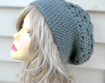 Womens Grey Hat Crochet Slouchy Hat Hair Accessories Winter Hat Girls Beanie Crochet Accessories Winter Accessories