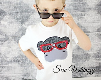 Hippo shirt- Zoo shirt- Back to school shirt_ Boy's Hippo Shirt- Hippo with Glasses- School Shirt- Boy Hippo- Sibling shirt- Monogram- Boy