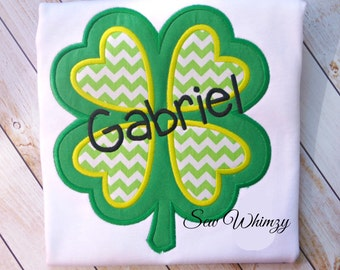 St Patrick Day shirt or bodysuit- Shamrock shirt- Boy's St. Patrick's Day shirt- Four Leaf clover shirt- Monogram Shamrock Shirt- Custom Boy