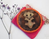 Hedgehog Fabric Pocket Mirror, Cosmetic Mirror, Makeup Mirror, Gifts for Women, Fabric Covered Mirror