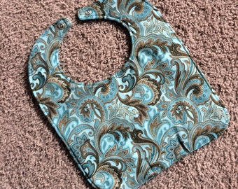 TODDLER or NEWBORN Bib: Brown Paisley on Light Blue, Personalization Available