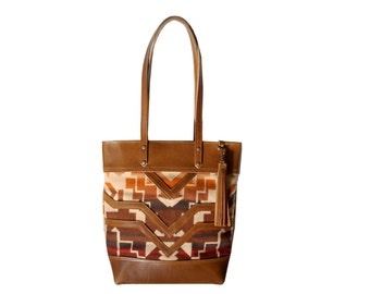 The Buena Vista Social Bag - leather and wool tote, neutral colors
