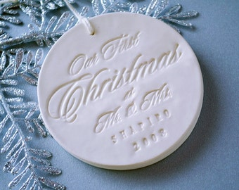 Personalized Our First Christmas as Mr. & Mrs. Ornament 2016, Gift Boxed
