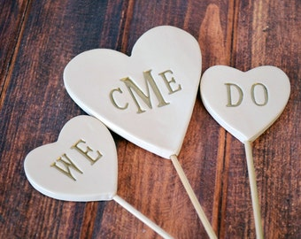 PERSONALIZED Heart Wedding Cake Topper with Monogram and We Do Toppers