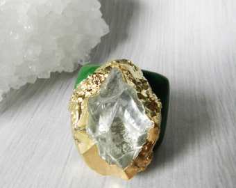 Crystal Quartz ring, Gold ring, Gold dipped, Statement ring, Tagua nut