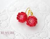 Handmade elegant floral peony earrings, red flowers, red peonies, earrings with flowers, feminine jewelry, fashion jewelry, cute, gift, gold