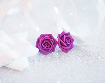 Purple rose studs, purple rose stud earrings, purple flower studs, purple roses studs, purple roses earrings, purple flower stud earrings