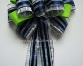 Navy Green Bow Navy Silver Green Grad Party Decor Navy and Green Wedding Pew Bow Seattle Seahawks Wreath Bow Blue Silver Gift Bow