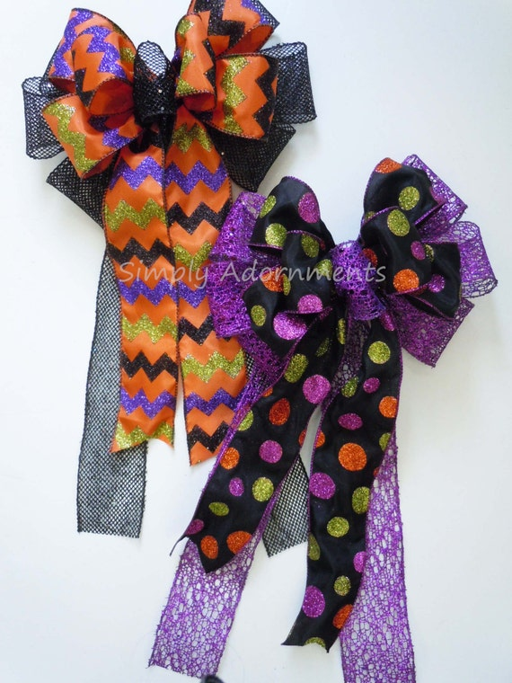 Halloween Wreath Bow Black Orange Chevron Bow Polka Dots Halloween Door Bow Trick or Treat Halloween Bow Halloween lantern Bow Monogram Bow