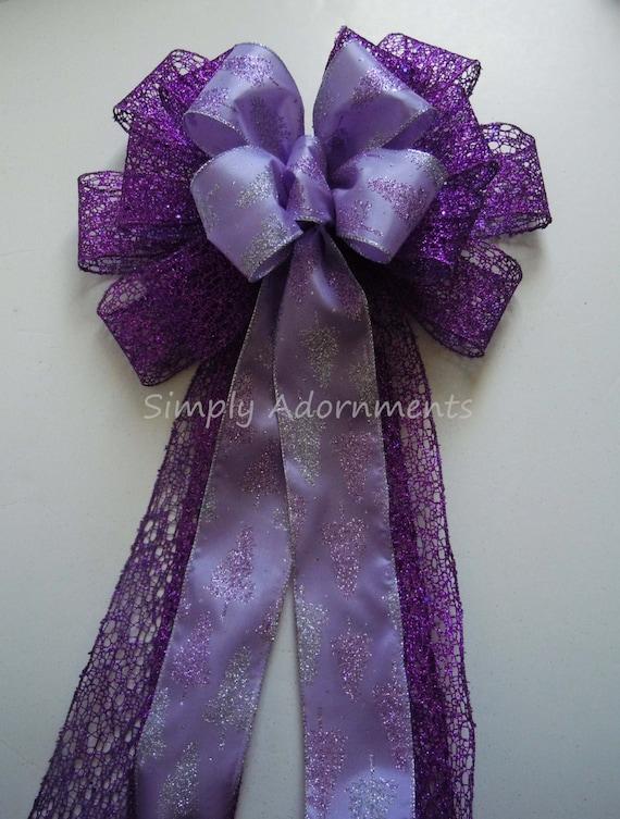Purple Christmas Bow Purple Christmas Tree Topper Bow Purple Lavender church pew decorations Winter Wedding Bow Purple Church Aisle Pew Bowy
