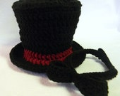 Crochet Black Top Hat/Cranberry Trim and Black Bow with or without Matching Diaper Cover