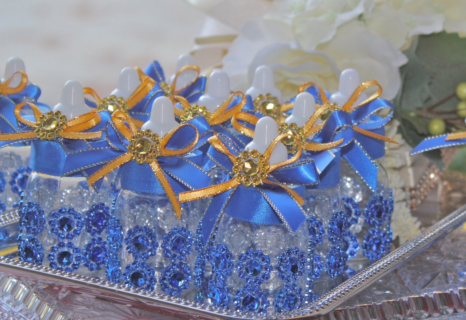 royal blue baby bottles little prince baby by favorsboutique
