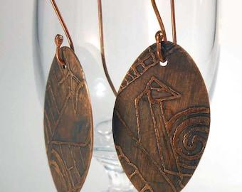 READY to SHIP Handmade Copper Rustic Dark Tower Earrings CPE86