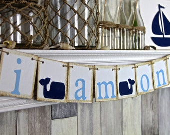 I am one Banner, Nautical First birthday Decor, Cake Smash Banner, Navy and Blue