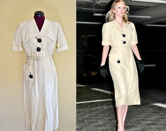 1940s Vintage Large Button Day Dress - size S M bust 38