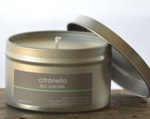 Citronella Soy Candle Tin 8 oz. - bug repellent candle - summer soy candle - unisex soy candle - camping soy candle - outdoor candle
