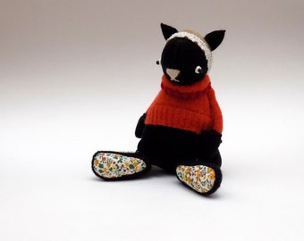 Black Velour Cat  -  Handmade plush cat wearing woolly pullover and felt mittens.