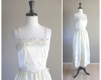 Gorgeous 1960s Vintage Satin & Floral Embroidered Ivory White Wedding Dress / 1950s Bride