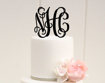Vine Monogram Wedding Cake Topper Personalized with YOUR Initials
