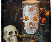 Haunting Baroque Ghost Skull Embroidered Candle Wrap For LED Flameless Pillar Candles.