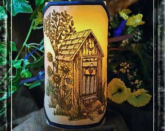 Rustic Country Outhouse Embroidered and Hand Colored LED Candle Wrap For LED Flameless Pillar Candles.