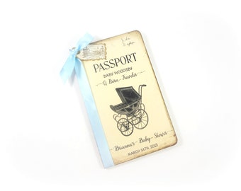 Baby Wish Book, Travel Baby Shower Guest Book, Personalized, Passport Journal, Advice for New Mom, New Baby Wishes Book