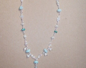 Fairy Bell Flower Necklace, with Amazonite, Opalescent Quartz, Florite, and Czech Glass Beads