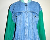 Vintage Denim Varsity Bomber Jacket Green Stripes Club Kid Acid Grunge