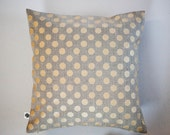 Linen gray pillow cover with gold print dots - decorative covers - shams - throw pillows - polka dot pattern16x16  0102