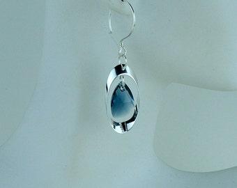 Sterling silver earrings with blend colors Swarovski crystal drop.