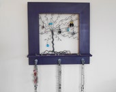 Jewelry Tree Frame and Post and Stud Earring Organizer, Necklace Holder - Purple14 inches - READY TO SHIP