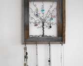 Jewelry Tree Reclaimed Barn Wood Frame Necklace and Earring Organizer - Ready to Ship ON SALE