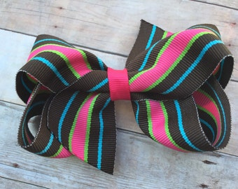 4 inch striped hair bow - bright striped bow, 4 inch bow, boutique bow, girls hair bows, girls bows, striped hair bows, toddler bows