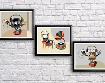 Music Wall Art, Music Teacher Gift, Retro Print, Music Poster, Music Lovers Gift, Music Decor, Vintage Music Decor, Vintage Music Gift
