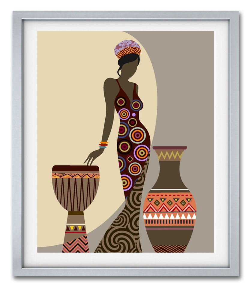 African woman art afrocentric art african wall art for African wall decoration