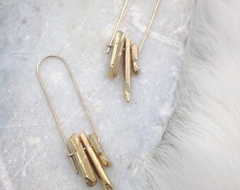 Aggregate Crystal Earrings in Gold