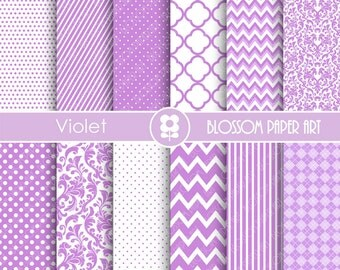 Violet Scrapbooking Paper, Purple Textures Digital Paper Pack, Violet Scrapbooking Digital Paper - 1882