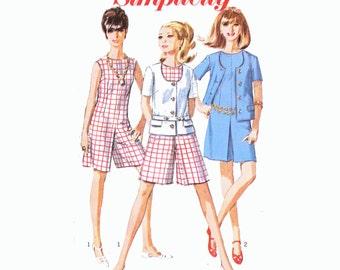 """1967 Romper or Culotte Dress & Jacket, Mod Spy Girl, Jewel Neckline, Front Button Scoop Neck Jacket, Belt Option, Simplicity 7159, Bust 34"""""""
