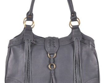 FREE SPIRIT. Gray leather tote / leather shoulder bag/ boho leather bag / grey leather bag / grey tote. Available in different leather color