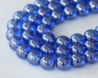 Sapphire Luster Czech Glass Beads, 8mm Round - 25 pcs - eL3005-8r