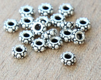 20 pcs Antique Silver TierraCast Beads, 5mm Small Turkish Heishi Spacer - eTBE425-AS