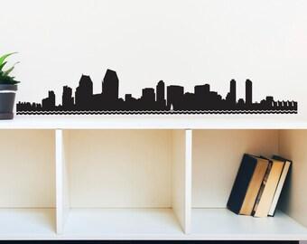 San Diego Skyline Silhouette - Wall Decal Custom Vinyl Art Stickers