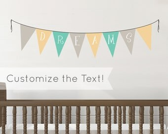 Personalized Name Banner Nursery - Wall Decal Custom Vinyl Art Stickers