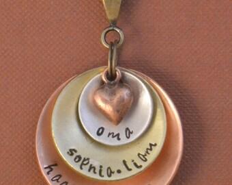 oma, custom name jewelry, nana, mimi, grandmother, mom jewelry pendant