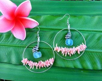 Sea Glass Pink Coral Zebra Shell Hoop Earrings