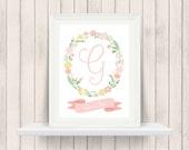 Floral Monogram - Nursery Decor - Young Girl's Room Decor - Name Print - Baby Shower Gift