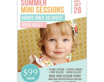 Summer Mini Session Marketing Template for Photographers - Summer Photography Marketing - Photoshop Templates for Photographers - AD149