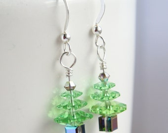 Christmas Tree Earrings, Swarovski Christmas Tree Earrings, Swarovski Christmas Earrings