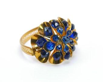 Vintage Bracelet Bangle Cuff Blue Crystal Briolettes Russian Gold Hinged Wired Greek Key
