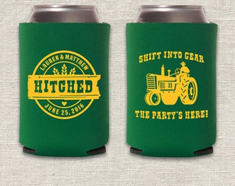 Shift Into Gear - Tractor Wedding Can Cooler